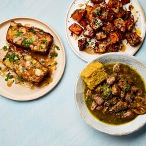 Yotam Ottolenghi's green chilli con carne with warm cornbread