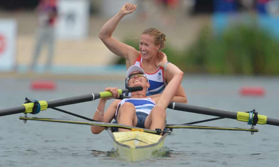 Helen Glover (top) and Heather Stanning celebrate after winning gold at the 2012 London Olympics.