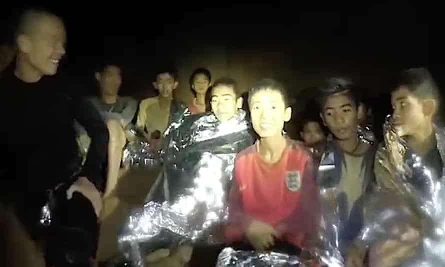 Members of the soccer team in Tham Luang cave in Khun Nam Nang Non forest park on 4 July 2018 in Chiang Rai, Thailand.