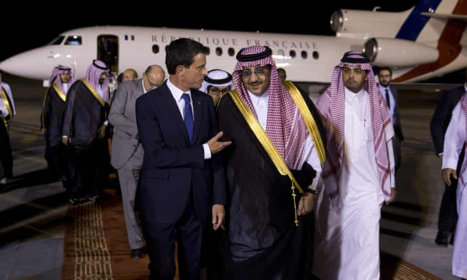 France's prime minister, Manuel Valls, left, speaks with Crown Prince Mohammed bin Nayef as he arrives in the Saudi capital, Riyadh, in October.