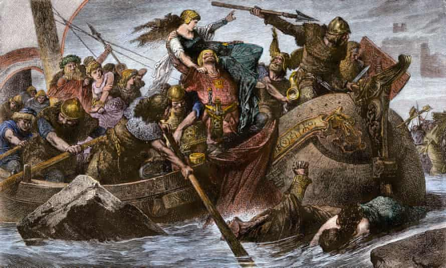 picture of Viking raid on the English coastline in the 900s.
