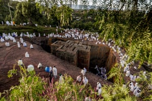 Ethiopian pilgrims gather at the St George Church during St George's festival in the town of Lalibela.