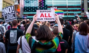 People protest Donald Trump's proposed ban on transgender people from military service in New York City on 26 July 2017.