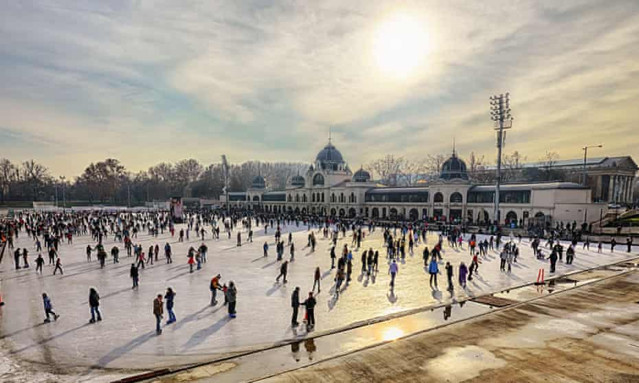 City Park in Budapes, Europe's largest outdoor ice skating rink.
