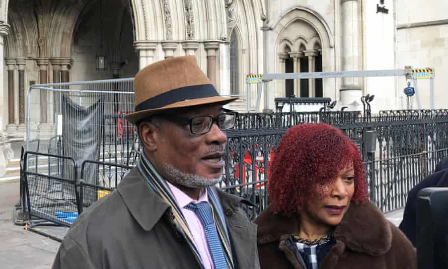 Winston Trew and his wife, Hyacinth, outside the Royal Courts of Justice in London in December after his conviction was overturned.