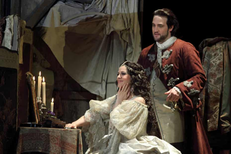 Angela Gheorghiu in the title role with Brian Jagde as Maurizio in Adriana Lecouvreur at the Royal Opera House.