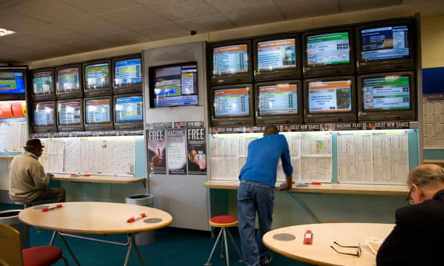 The inside of a bookmakers