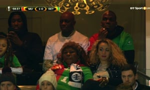 The Pogba family in the stands at Old Trafford