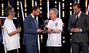Gareth Southgate receives his award for Coach of the Year from David Baddiel and Frank Skinner.