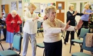 Elderly women doing a keep-fit class