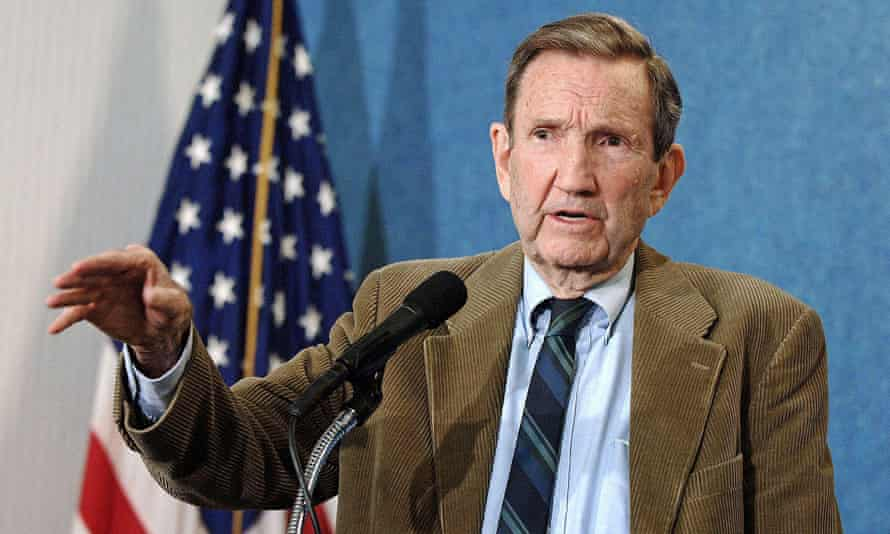 Ramsey Clark in his role as defence counsel to Saddam Hussein, giving a press conference in Washington, 2006.
