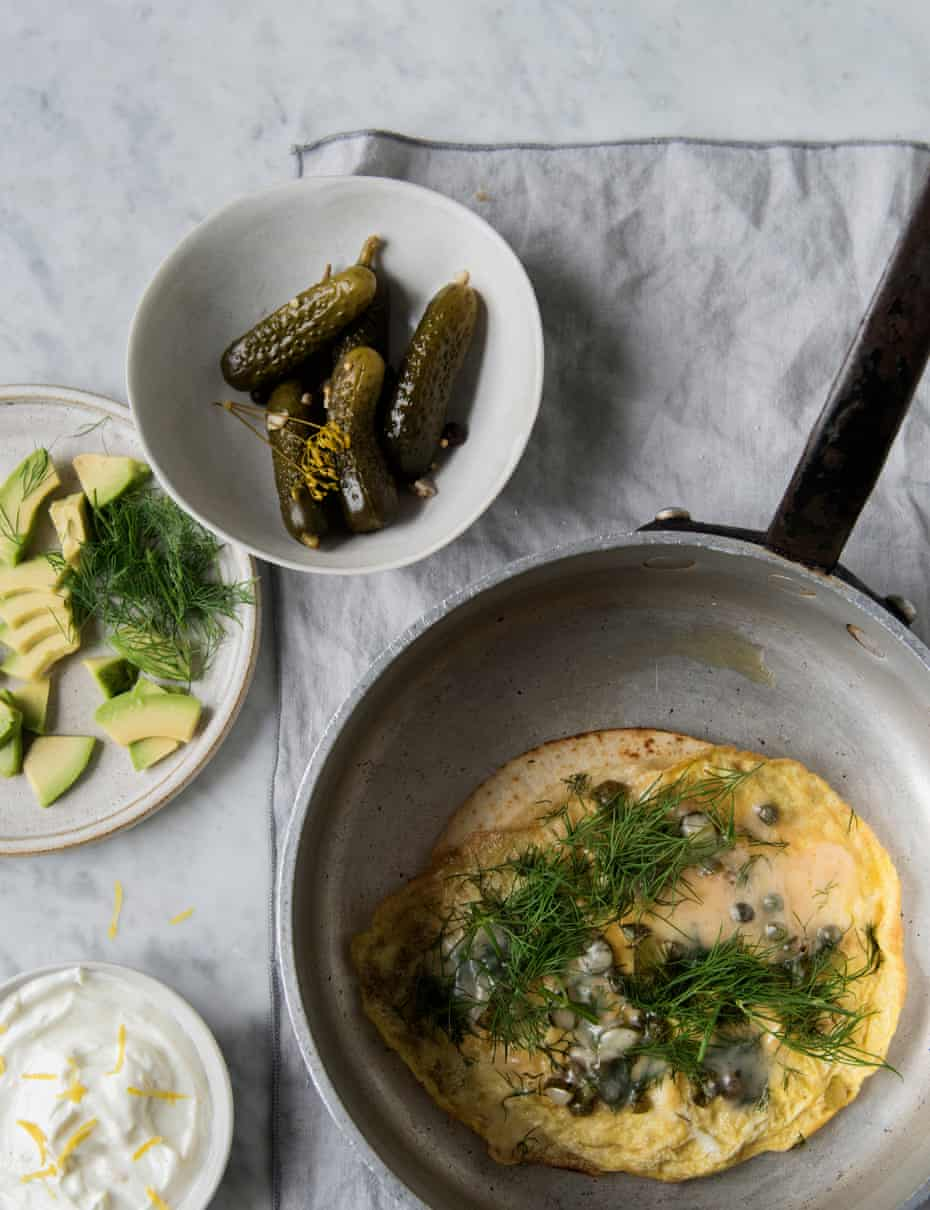 Caper, herb and egg flatbreads: 'As quick as they come and is one of the most flavourful little suppers I know.'