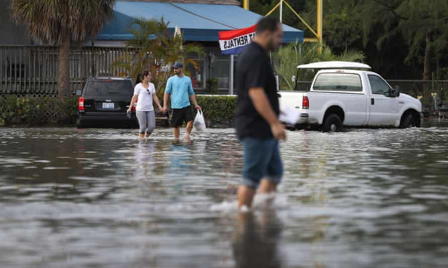 A flooded parking lot caused by high tides on 14 November 2016 in North Miami, Florida.
