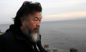 Ai Weiwei on the east coast of the Greek island of Lesbos, in February.