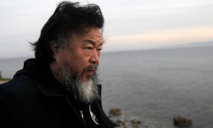 Ai Weiwei visiting Lesbos, Greece.