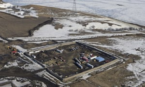 A site where the final phase of the Dakota Access pipeline near the Missouri river took place with boring equipment routing the pipeline underground on 13 February 2017.