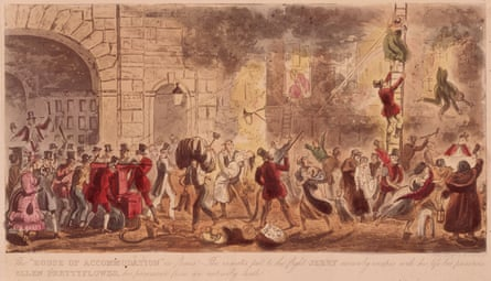 Brothel AblazeSeptember 1666, Men flock to save the 'House of Accommodation' during the Great Fire of London. Jerry, of Cruikshanks' cartoon duo Tom and Jerry, manages to escape with Miss Ellen Prettyflower in his arms. Original Artwork: Engraving by Robert Cruikshank.
