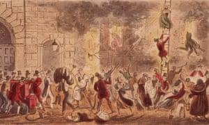 George Cruikshank's cartoon of the Great Fire of London of 1666.