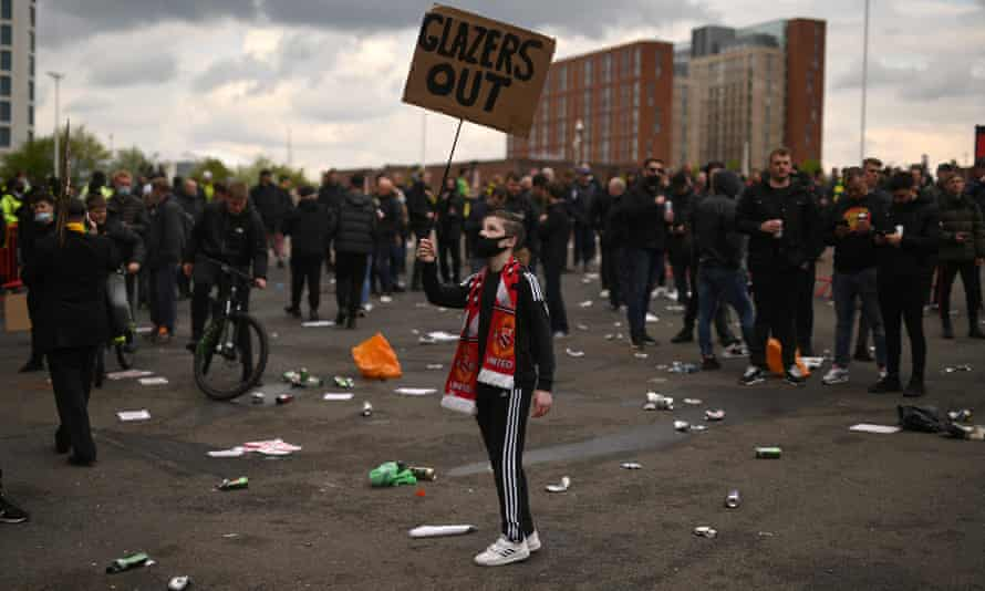 A scene from the protest at Old Trafford.