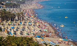 Bajondillo-Playamar Beach; Torremolinos, Malaga, Andalusia, Spain