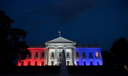 The White House lit up in red, white, and blue following Donald Trump's Fourth of July 'Salute to America' event in Washington.