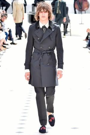A model on the Burberry Prorsum Spring Summer 2016 catwalk