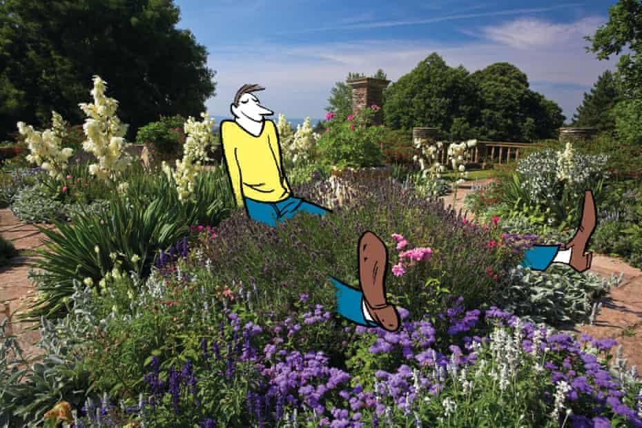 Illustration of man sitting inside photo of a garden