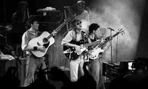 Mark Hollis, centre, with Talk Talk on stage in Rotterdam, Netherlands, 1984.