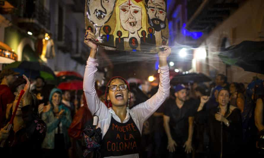 Protesters in Puerto Rico demand the resignation of Governor Wanda Vazquez.