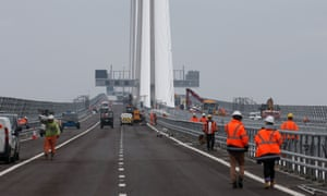 Final works are carried out to the Queensferry Crossing bridge.