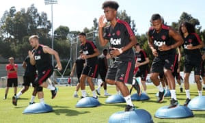 Manchester United train in Los Angeles for the first match of their US tour against Club América.
