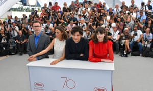 (FromL) French director Michel Hazanavicius, French-Argentinian actress Berenice Bejo, French actor Louis Garrel and French-British actress Stacy Martin pose during a photocall for the film 'The Redoubtable