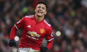 Alexis Sanchez scores his first for United.