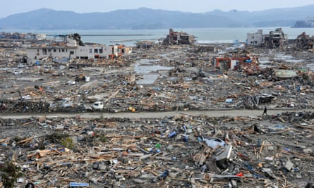 A file picture shows an elevated view of the tsunami devastated Shizugawa district in Minami Sanriku of Miyagi Prefecture, northern Japan, on 14 March 2011.