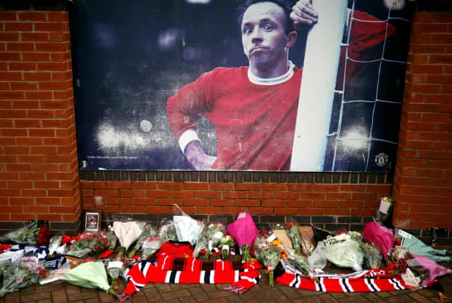 Tributes to Nobby Stiles outside Old Trafford.