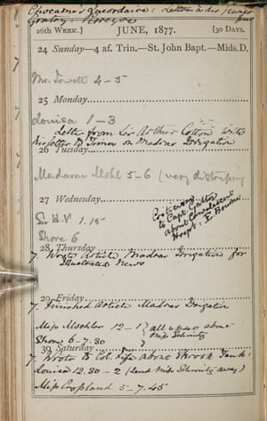 Florence Nightingale's appointment diary, June 1877.