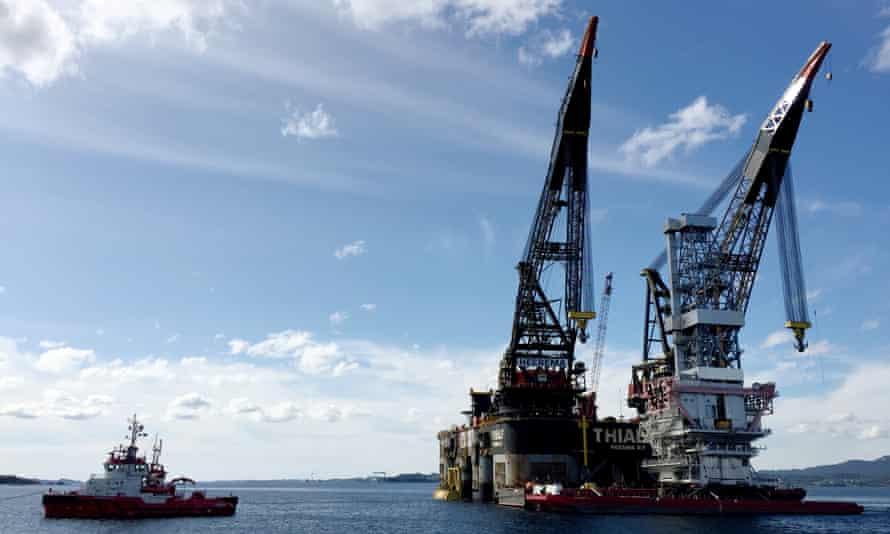 Construction of drilling platform near Stord, Norway