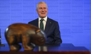 On the wombat trail ... Nationals leader and deputy prime minister Michael McCormack at the National Press Club in Canberra on day 20 of the 2019 Australian federal election campaign.