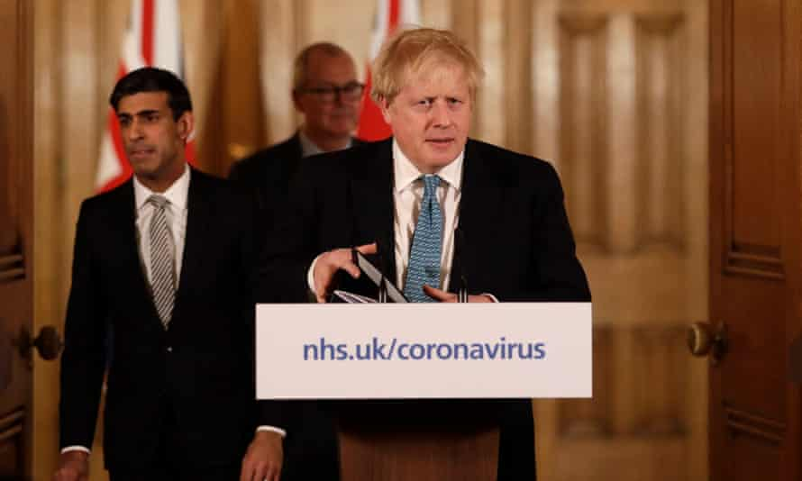 Boris Johnson gives a press briefing inside No 10 on 17 March 2020.