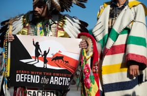 Native American demonstrate in Washington DC against drilling in the Arctic Refuge