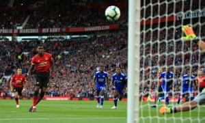 Paul Pogba scores from the penalty spot after a slow, deliberate run-up, to give Manchester United the lead in the third minute at Old Trafford.