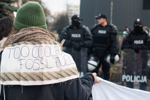 A protester outside the climate conference in Katowice.