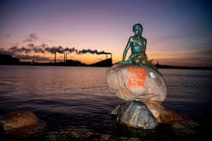 Copenhagen, Denmark 'Free Hong Kong' is written on the base of the Little Mermaid statue after it was vandalised