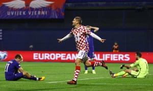 Andrej Kramaric celebrates scoring Croatia's fourth goal against Greece.