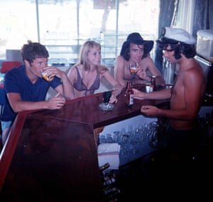 Best serves up drinks up to the actress Susan George and friendsat a bar in Majorca
