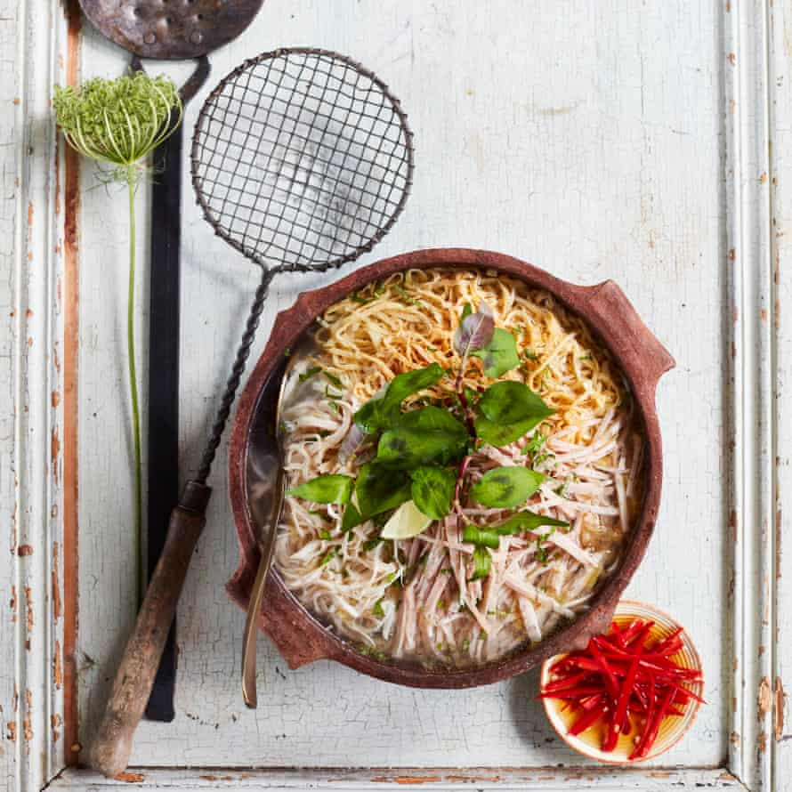 Hanoi noodle soup with chicken, pork and egg (bún thang) by Thuy Diem Pham.