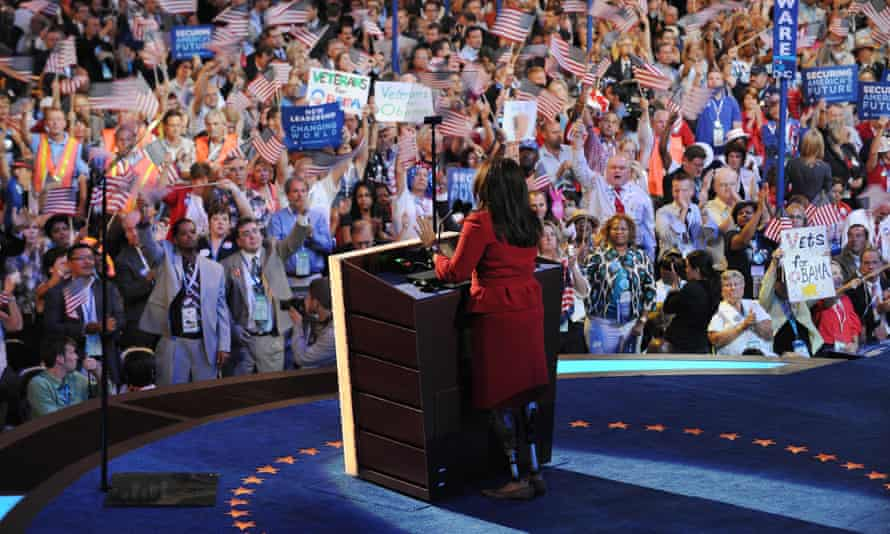 Duckworth addresses the 2008 Democratic National Convention in Denver.