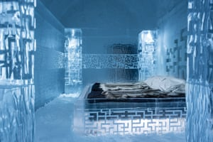 Icehotel 365 is next to the Ice Hotel (which melts away by spring). Construction of both hotels involves the use of around 30,000 litres of water from the river Torne: the equivalentof 700m snowballs. Pictured: Deluxe suite, Don't Get Lost, by Tommy Alatalo and Mattias Styrefors.