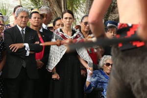 Ardern is welcomed alongside Winston Peters and Titewhai Harawira