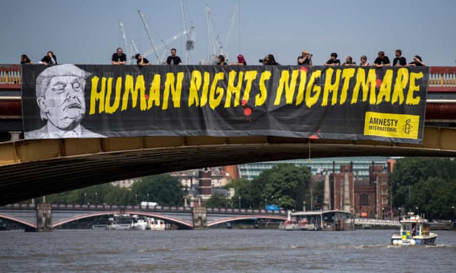 A protest by Amnesty International in London against US president Donald Trump's visit in July.